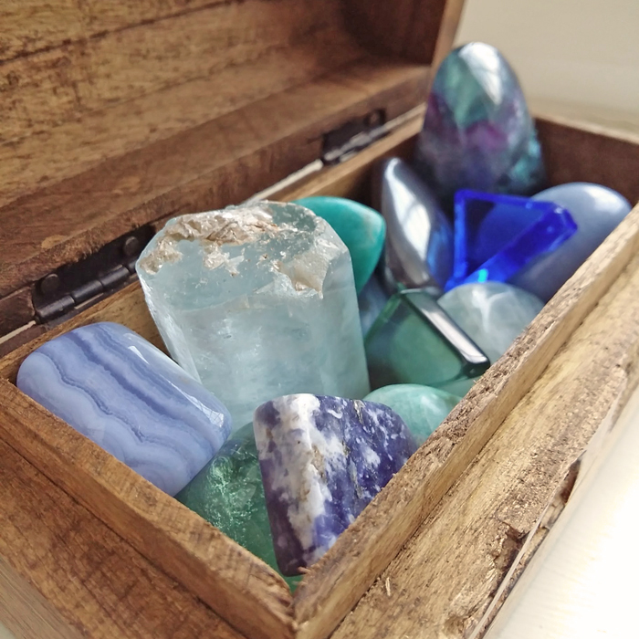 You can store crystals in small wooden chests like this one
