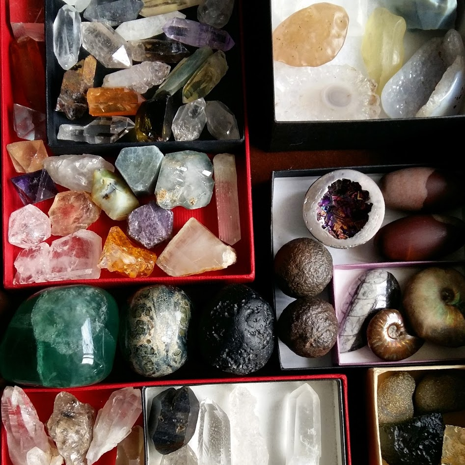Different crystals stored in a drawer