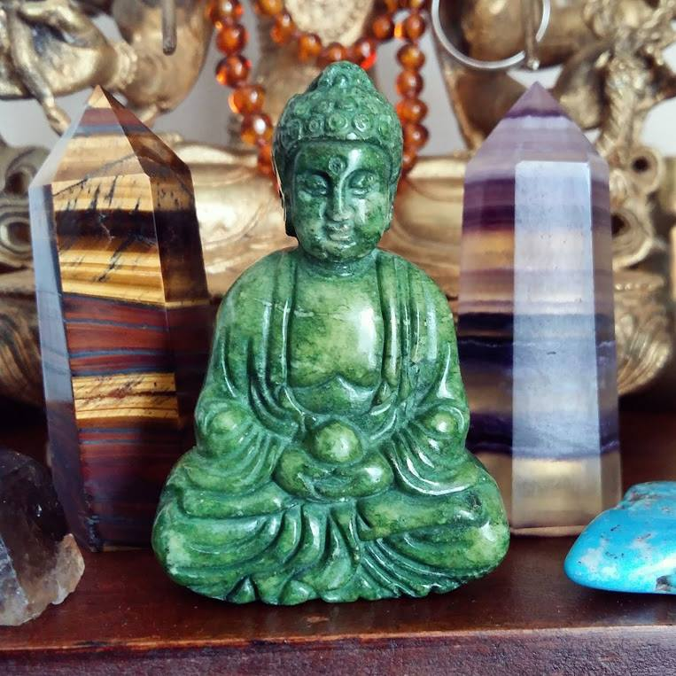 Jade Buddha and Crystal Points