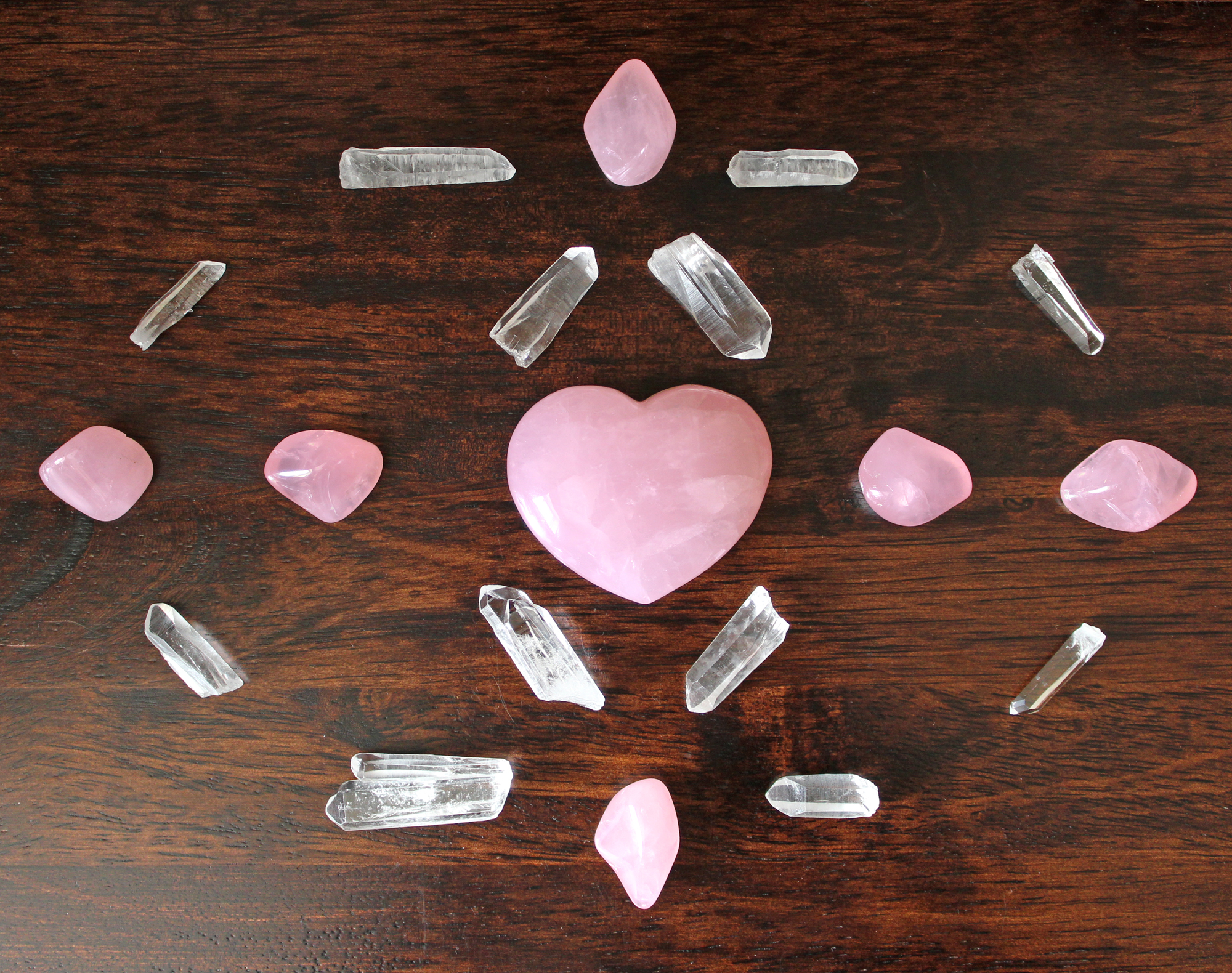 Crystal Grid For Love with Rose Quartz Crystals