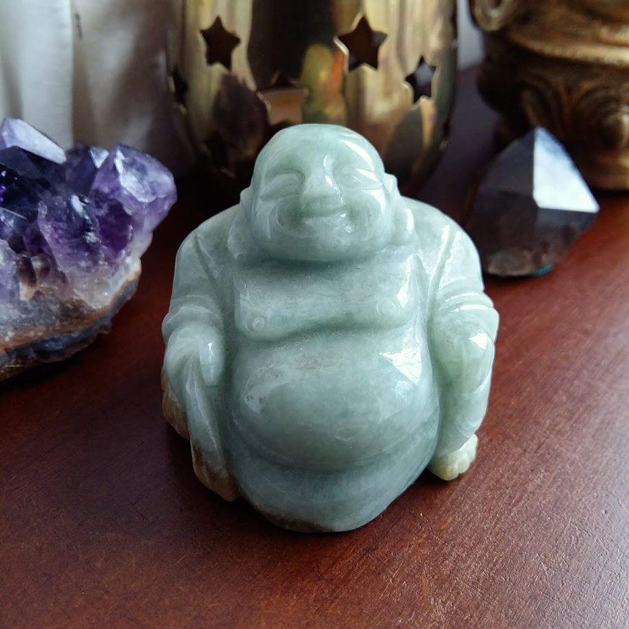 Green Jade Laughing Buddha for wealth luck