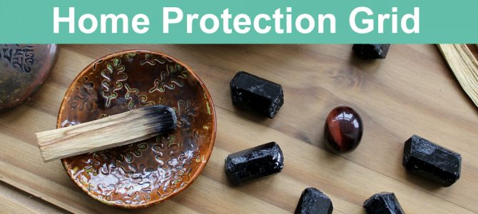 Home Protection Crystal Grid with Black Tourmaline