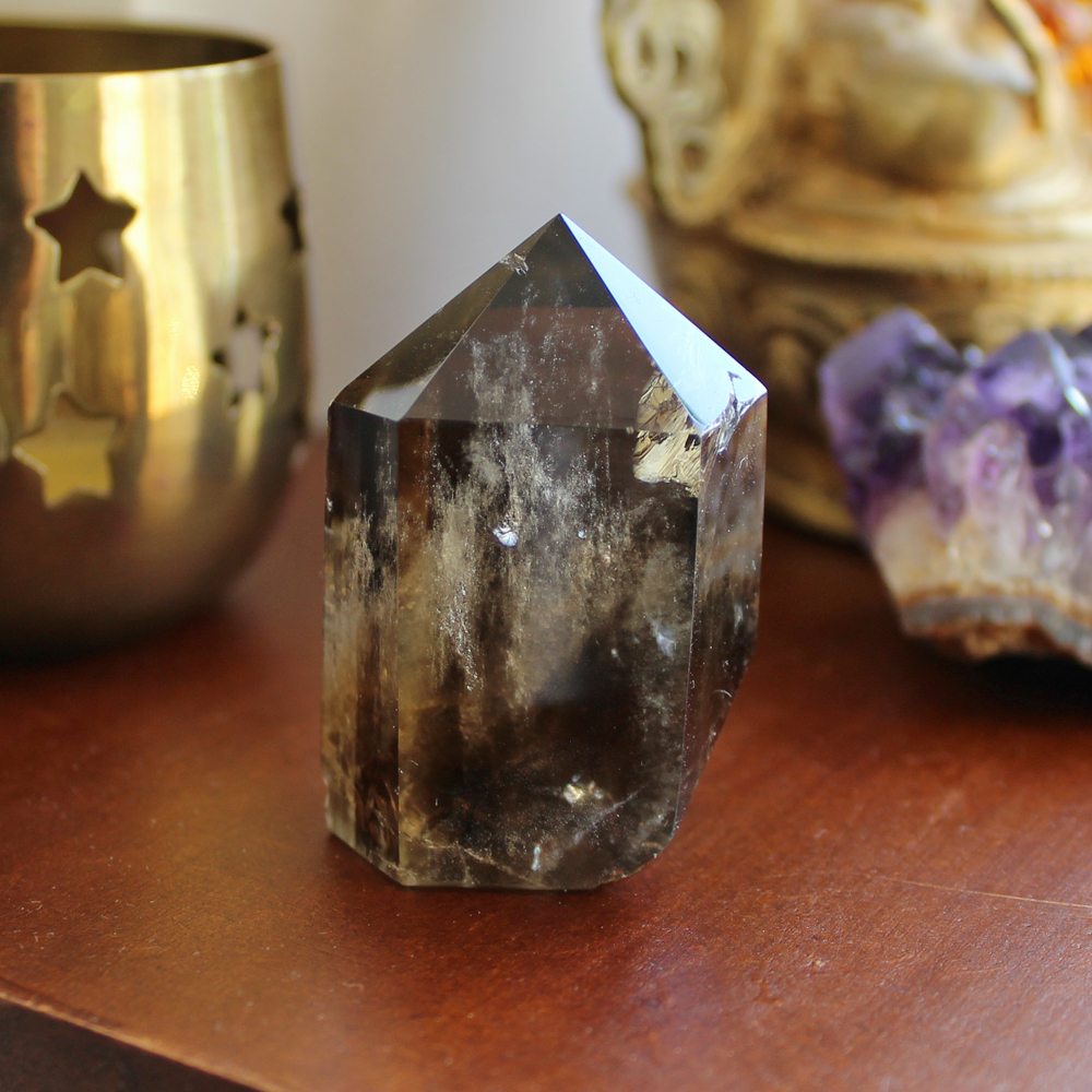 Standing Smoky Quartz point