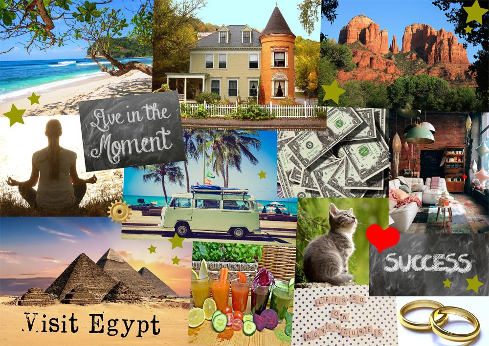 Example vision board with images of holidays, homes and lifestyle goals
