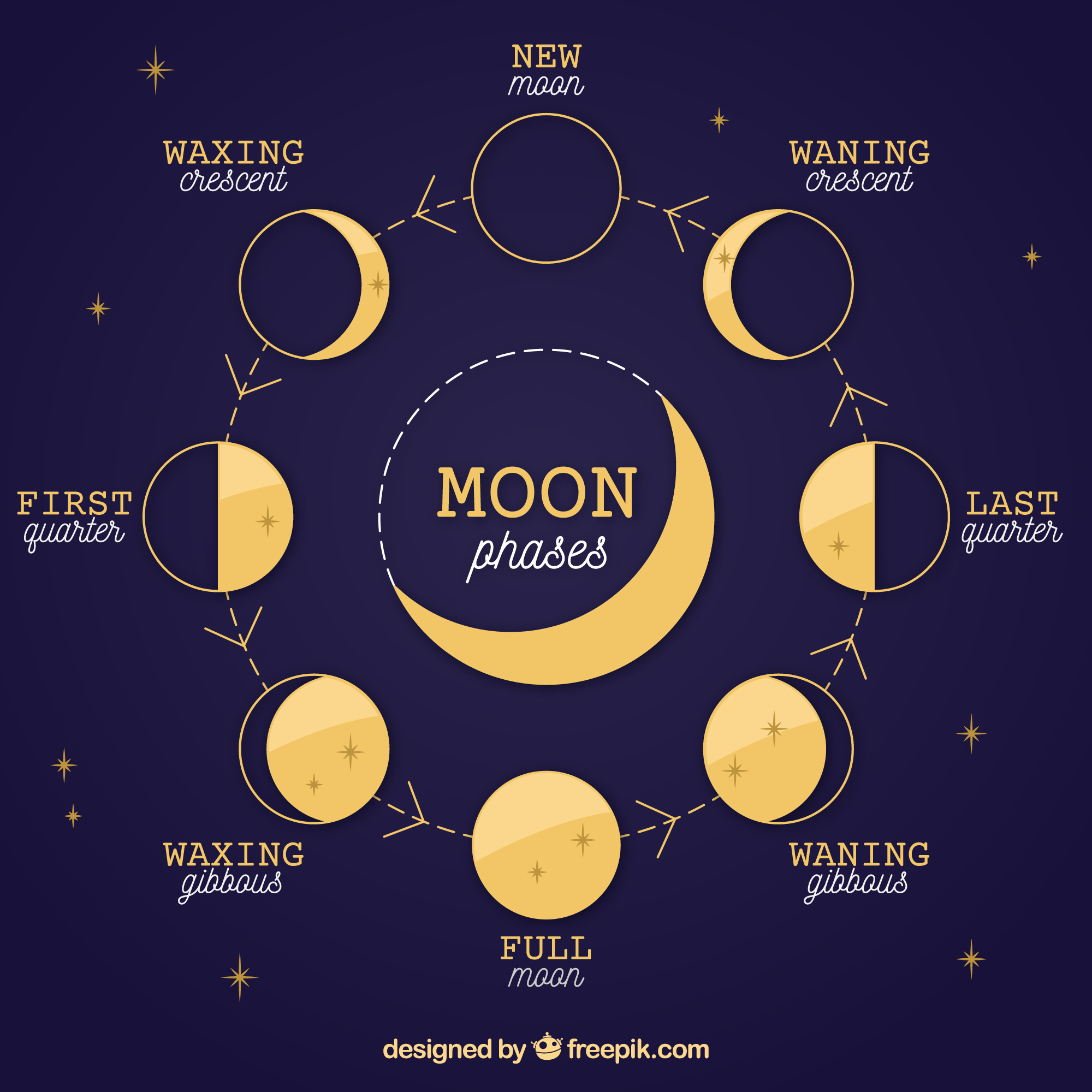 Moon phase diagram. Work with crystals for the full moon
