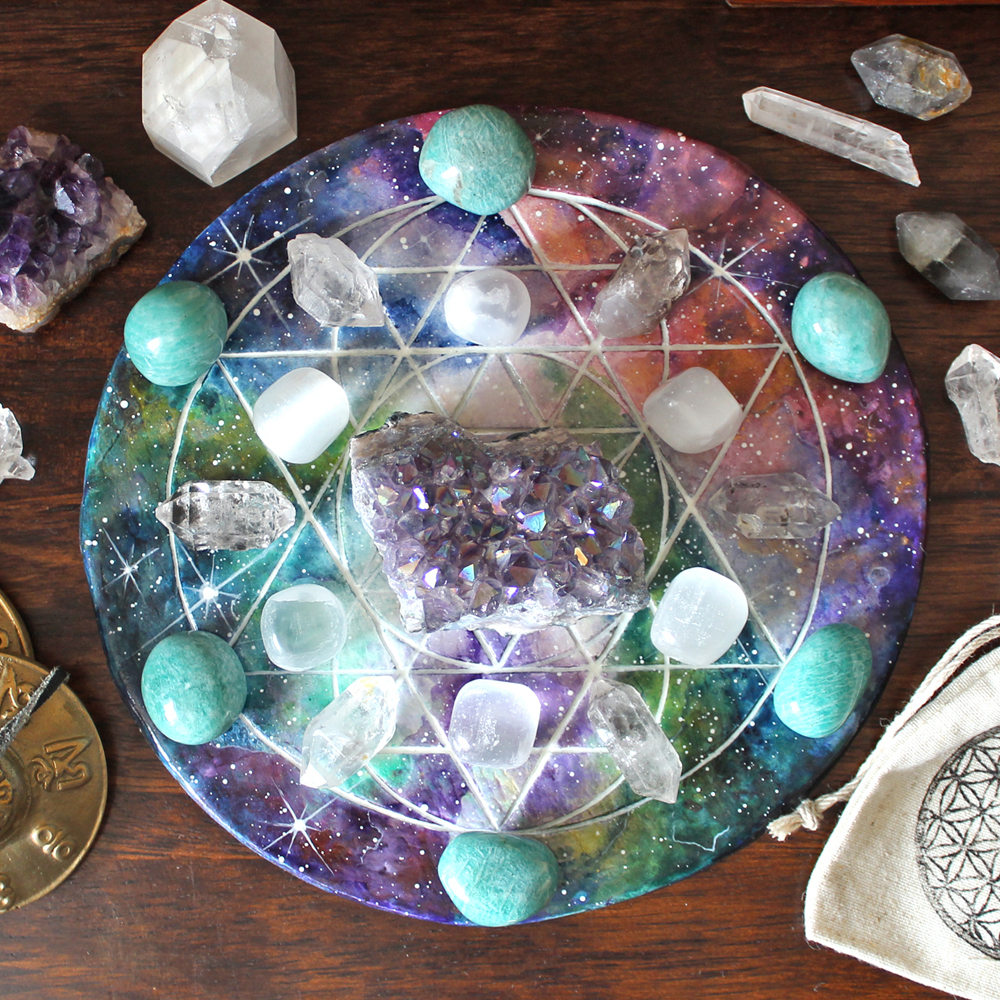 Handpainted crystal grid base by Handmaiduns on Etsy