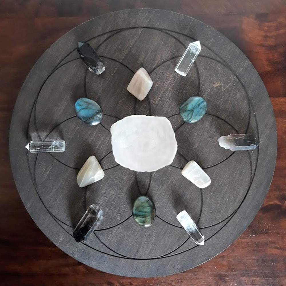 New moon crystal grid