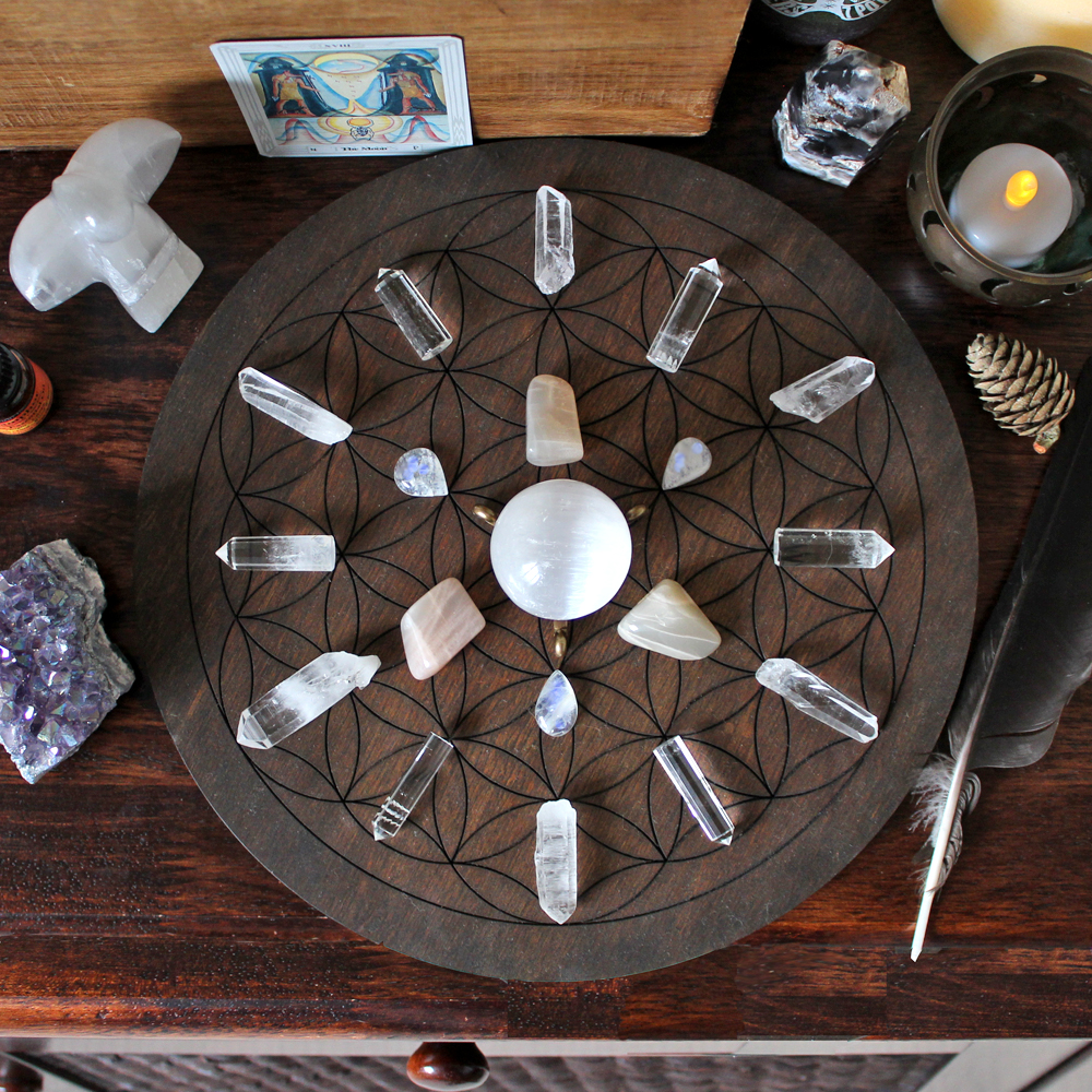 My finished Full Moon Crystal Grid from above