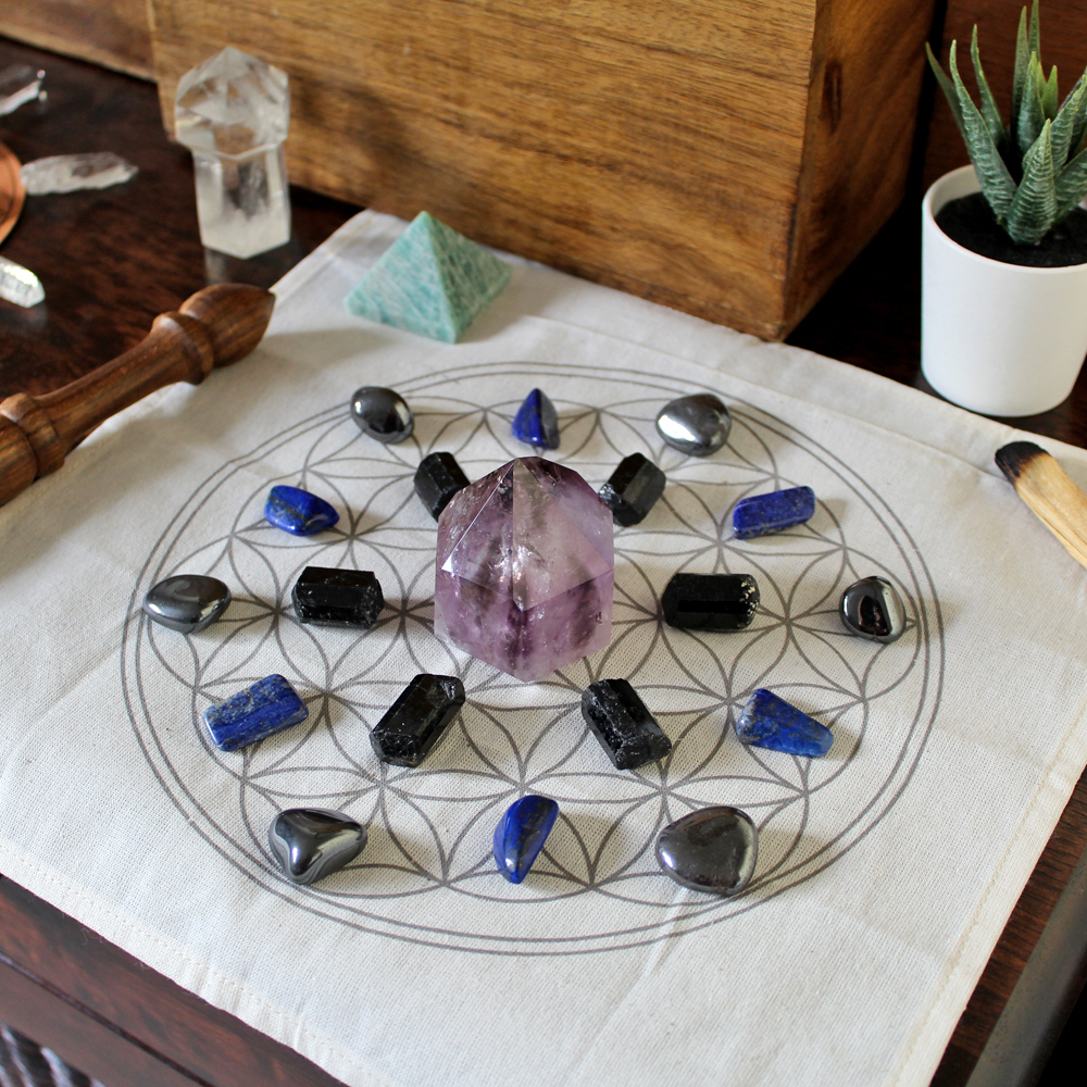 Printed Flower of Life Crystal Grid Cloth