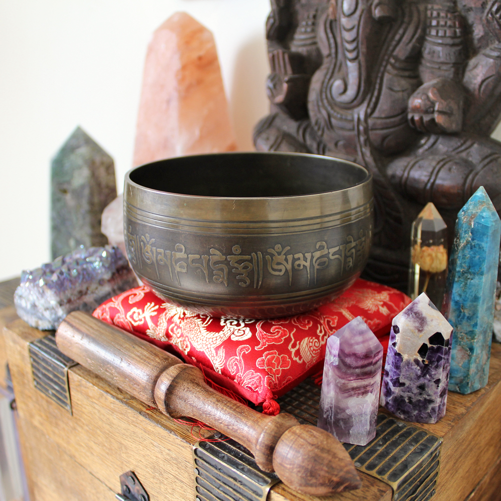 Tibetan singing bowl with crystals