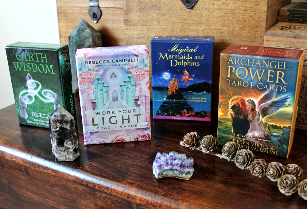 Selection of oracle and tarot card decks
