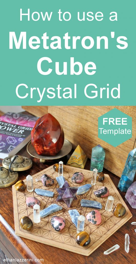 Metatrons cube crystal grid with crystal points, pyramids and crystal grids power book