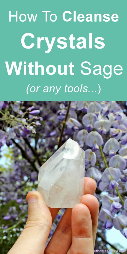 Cleanse crystals without sage or any tools. Phantom crystal point with Wisteria flowers
