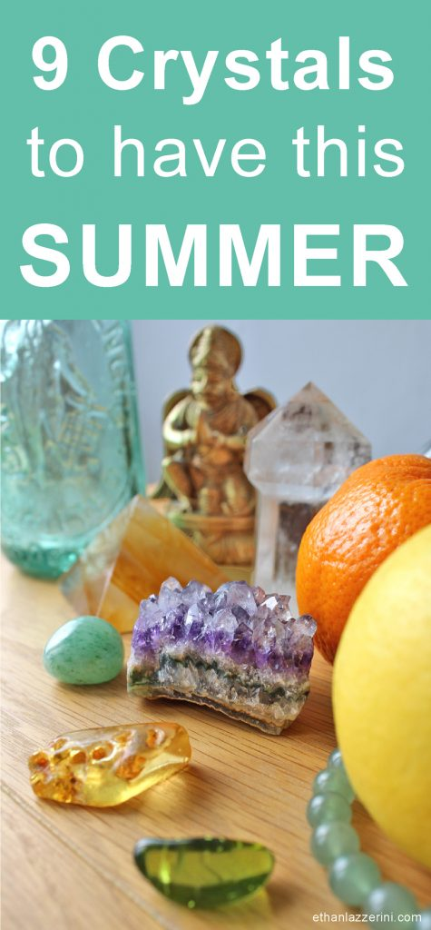 Crystals for Summer. Amethyst cluster, citrus fruits, amber