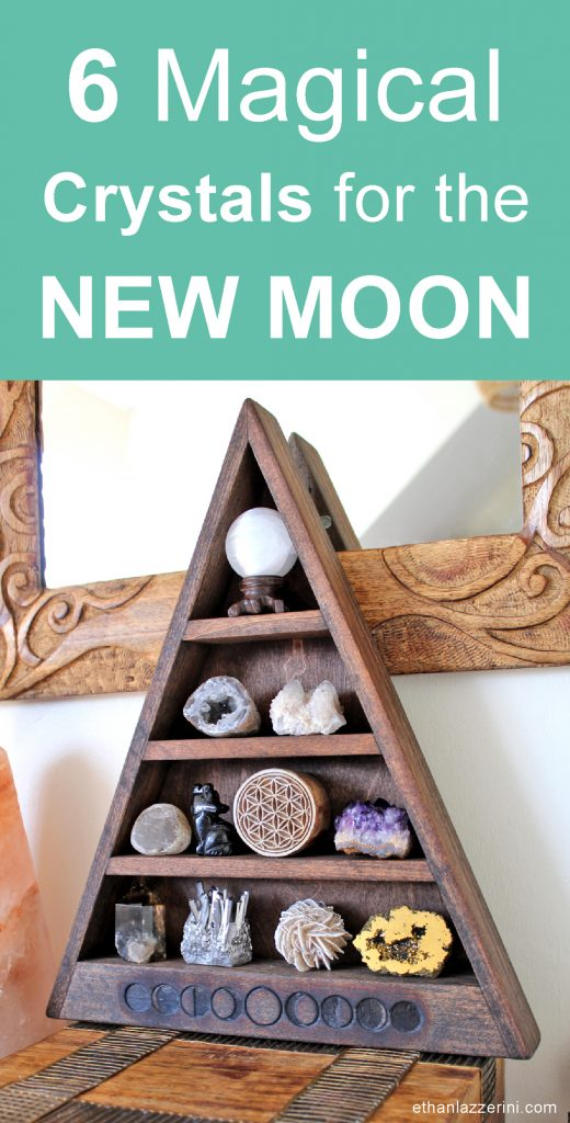 crystals for the new moon. Moon phase shelf with crystals