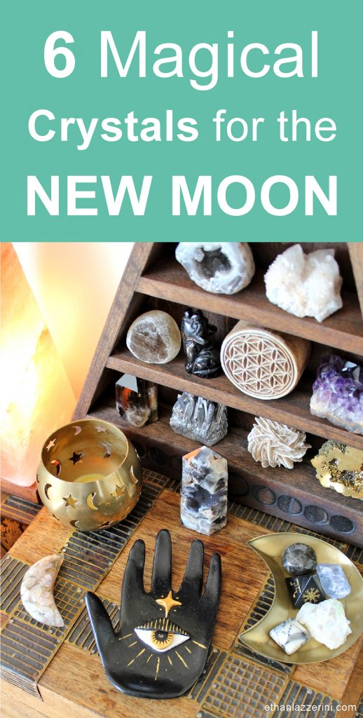 Crystals for the new Moon. Altar, candles and crystal shelf