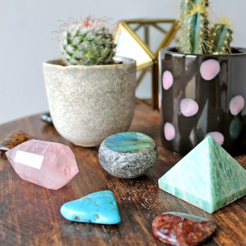 Potted Cacti with crystals and minerals decor