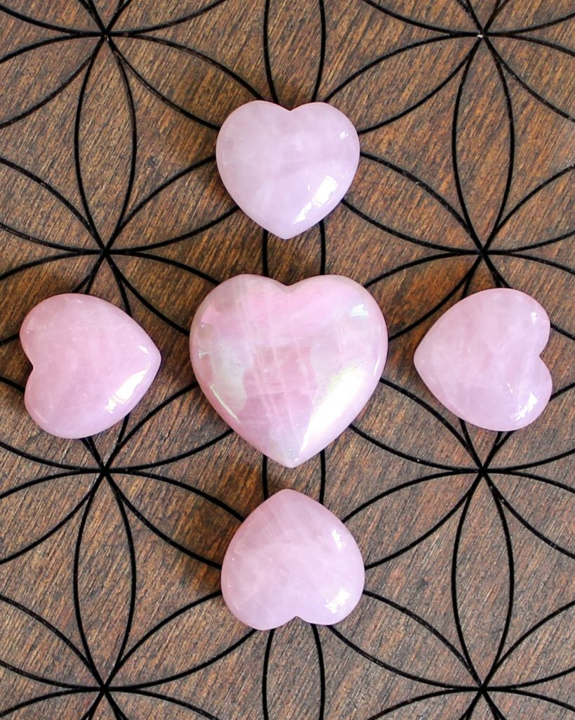 Rose Quartz heart crystal grid