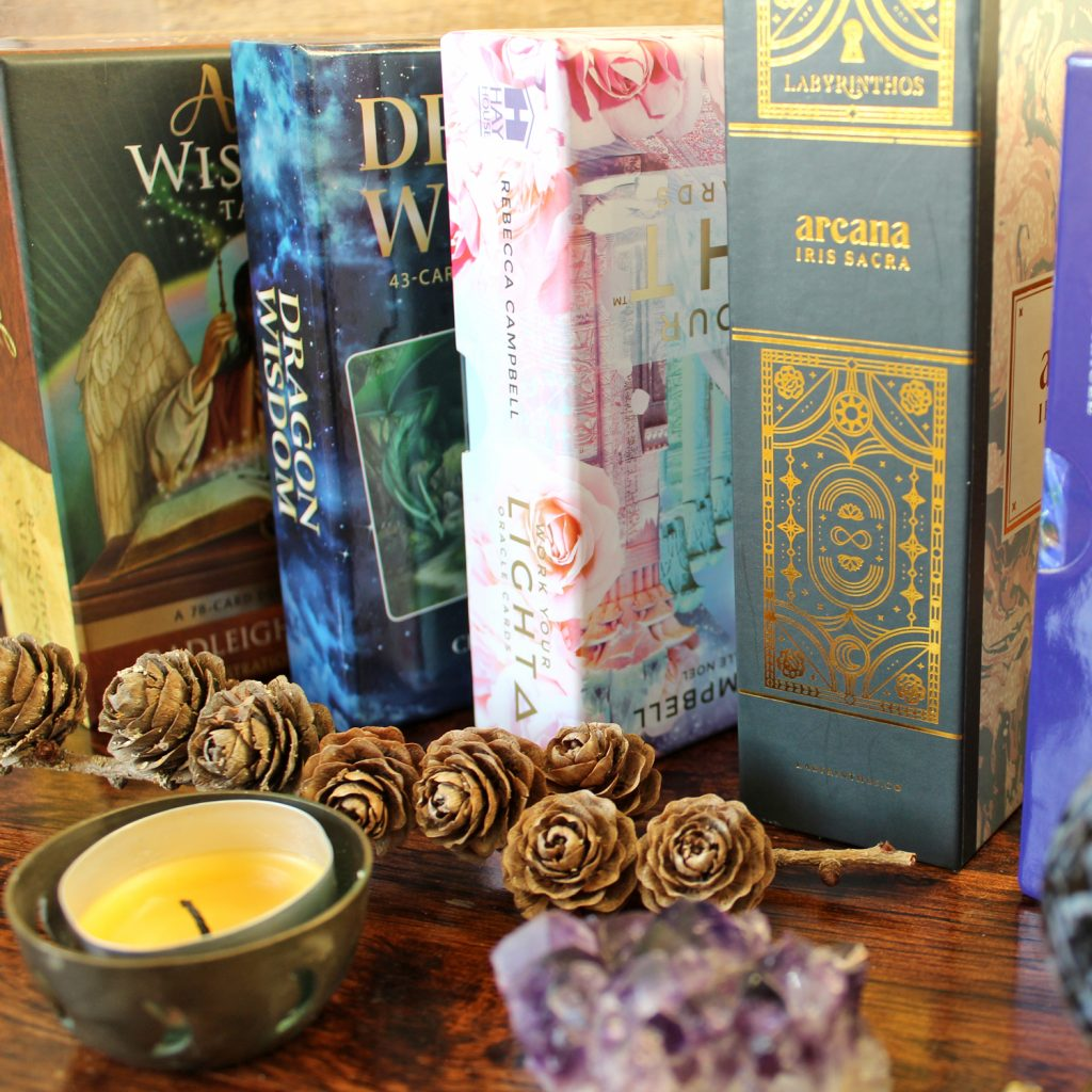 A few of the Oracle and Tarot decks used
