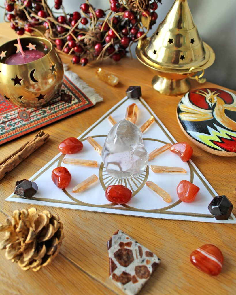 Energy boosting crystal grid with (optional) extra crystals