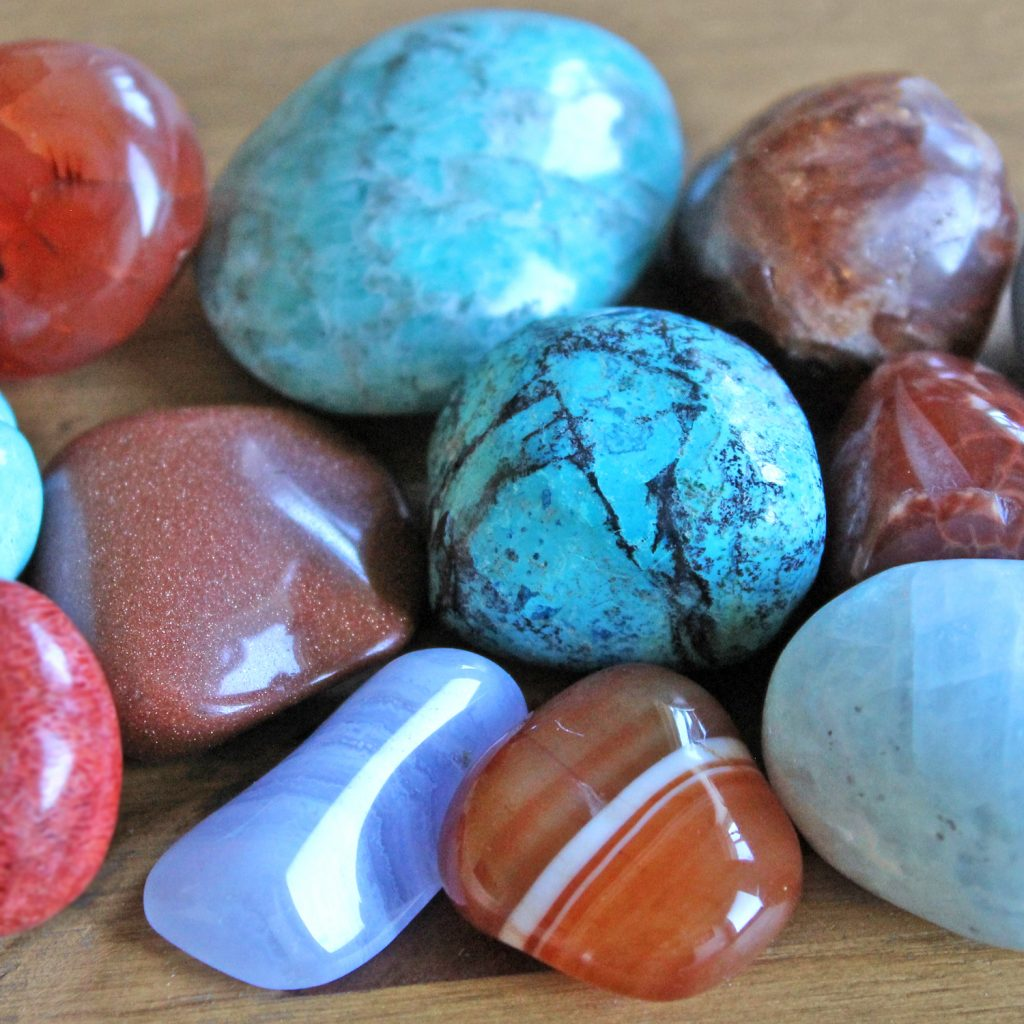 orange and blue crystals