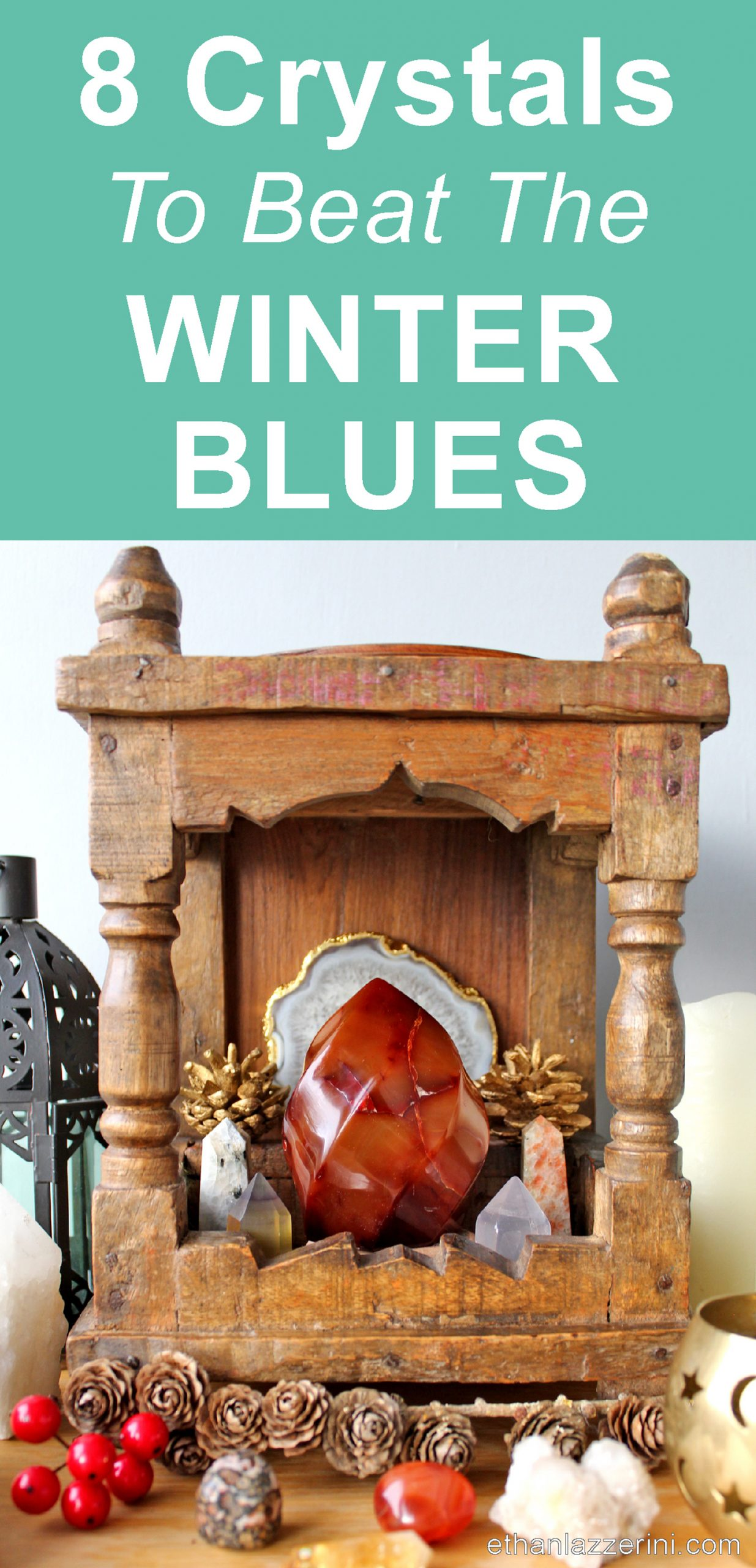 Crystals for the Winter Blues on a small seasonal altar