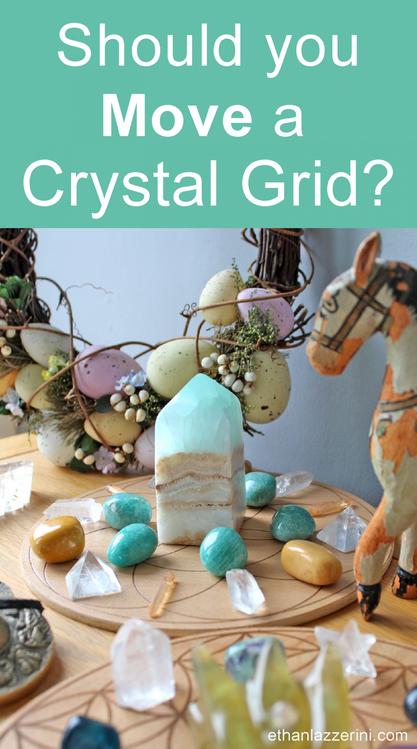 Colourful crystal grid. Text says should you move a crystal grid?