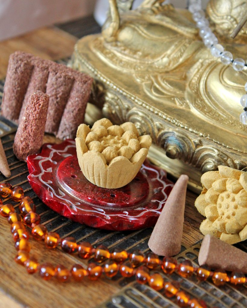 Incense cones and lotus flowers