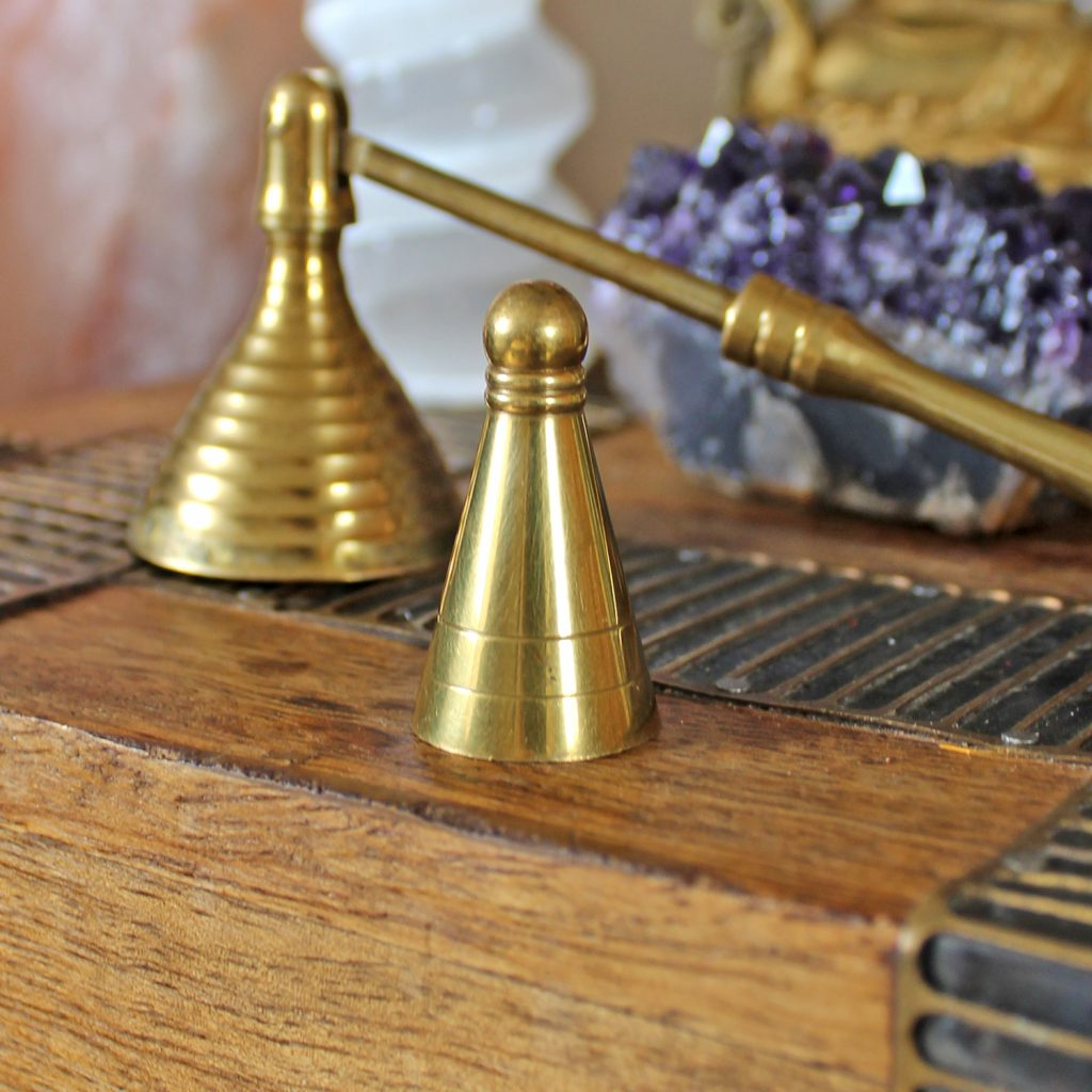 Brass incense cone mould and candle snuffer