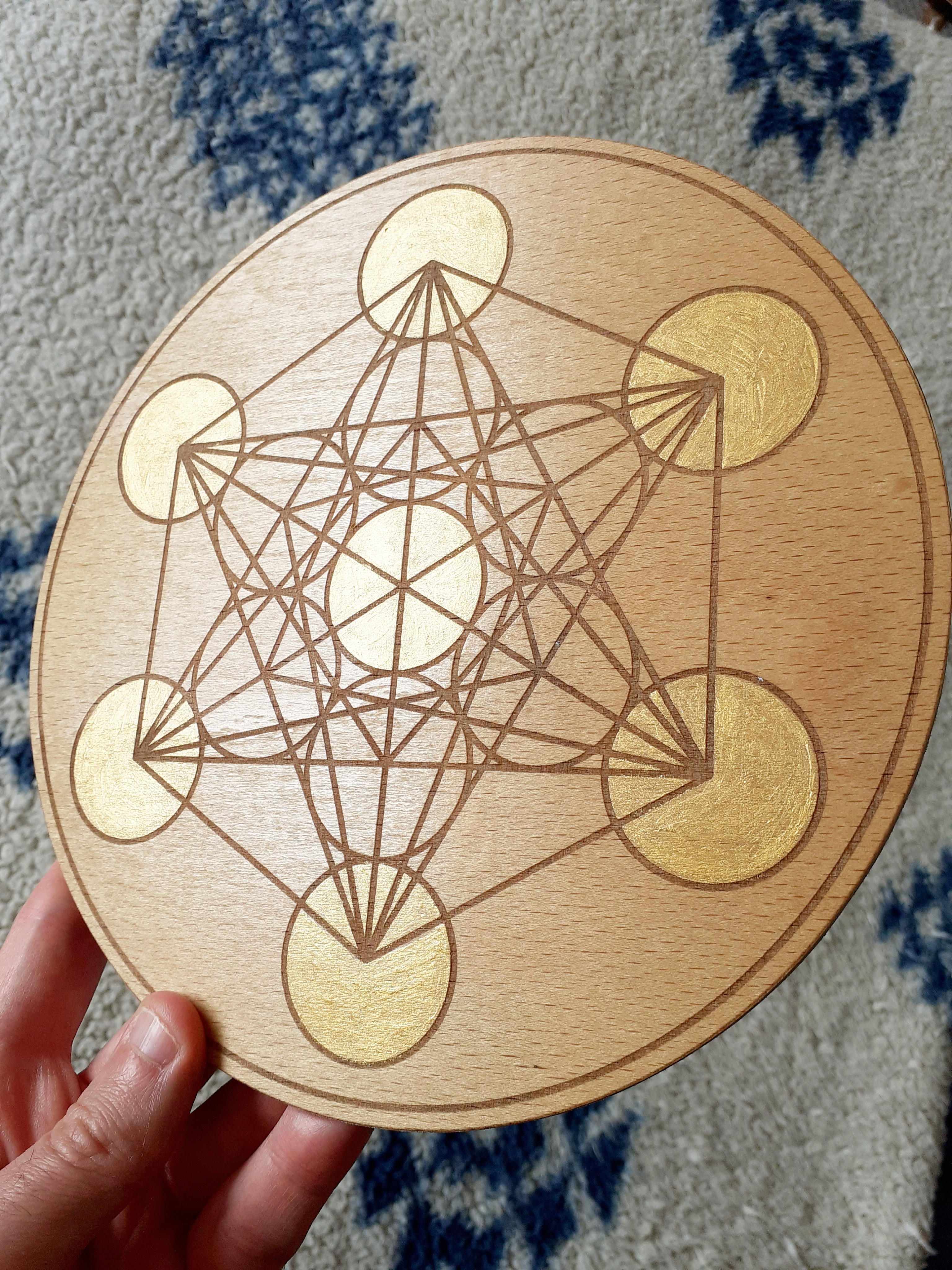 Metatrons cube crystal grid base, etched wood with gold paint